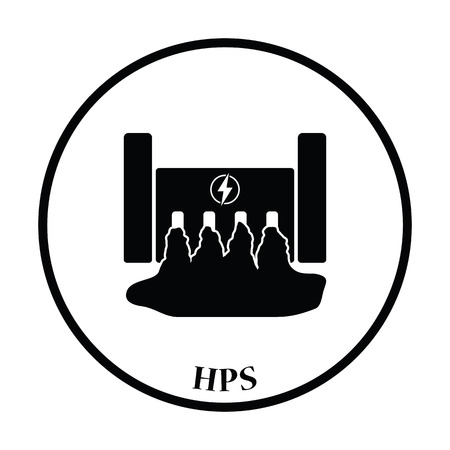 hydro power: Hydro power station icon. Thin circle design. Vector illustration.