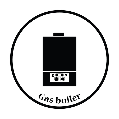 gas boiler: Gas boiler icon. Thin circle design. Vector illustration.