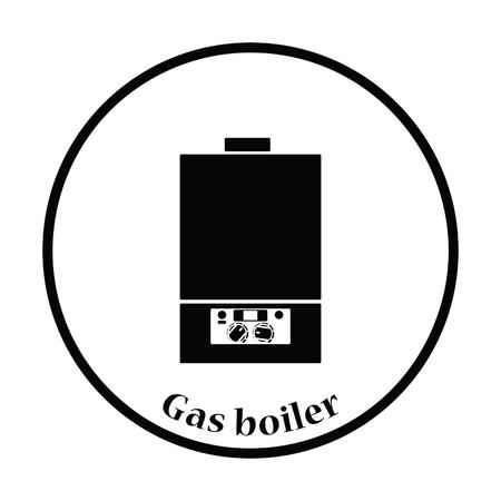 temp: Gas boiler icon. Thin circle design. Vector illustration.