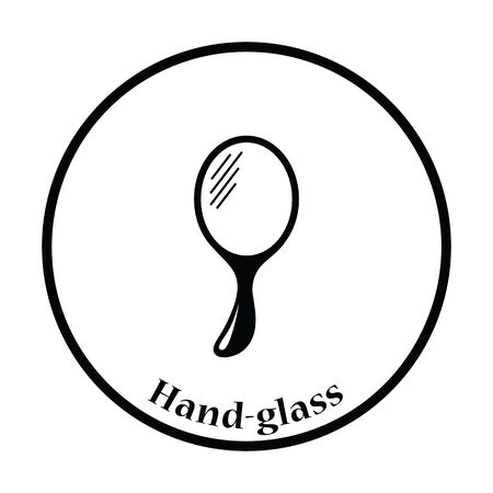 handglass: Hand-glass icon. Thin circle design. Vector illustration. Illustration