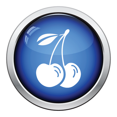 drupe: Icon of Cherry. Glossy button design. Vector illustration.