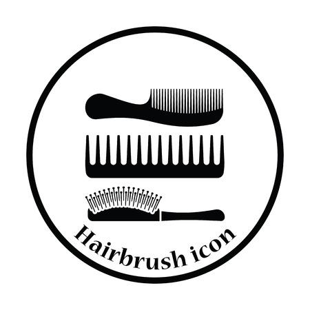 Hairbrush icon. Thin circle design. Vector illustration. Ilustração Vetorial