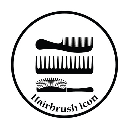 icona di spazzola per capelli. disegno cerchio sottile. Illustrazione vettoriale. Vettoriali