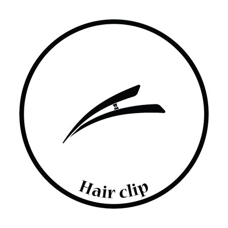 personal grooming: Hair clip icon. Thin circle design. Vector illustration.