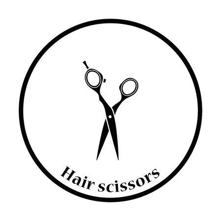 hair scissors: Hair scissors icon. Thin circle design. Vector illustration.