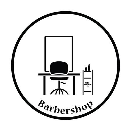 barbershop: Barbershop icon. Thin circle design. Vector illustration. Illustration