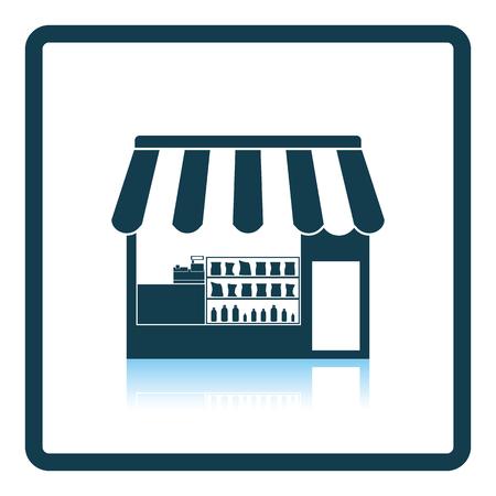 buy local: Tent shop icon. Shadow reflection design. Vector illustration. Illustration