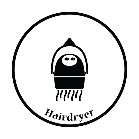 blow drying: Hairdryer icon. Thin circle design. Vector illustration.