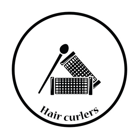 rulos: icono de rizadores de pelo. diseño del círculo delgada. Ilustración del vector.