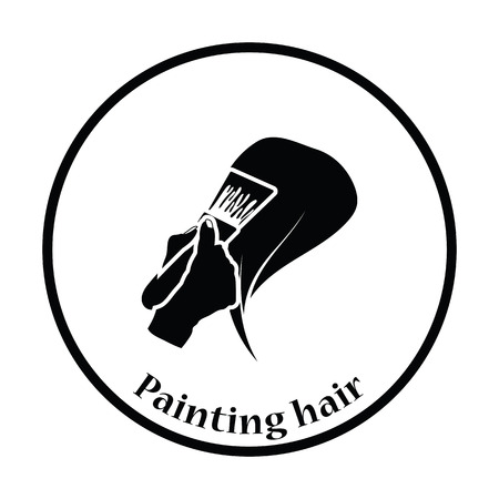 blonde females: Painting hair icon. Thin circle design. Vector illustration.