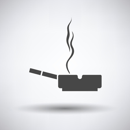 carcinogen: Cigarette in an ashtray icon on gray background, round shadow. Vector illustration. Illustration