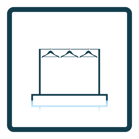 clothes rail: Clothing rail with hangers icon. Shadow reflection design. Vector illustration.
