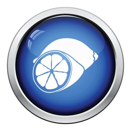 rinds: Icon of Lemon. Glossy button design. Vector illustration. Illustration
