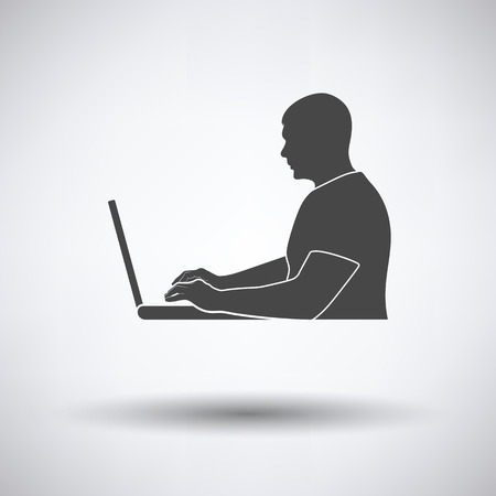 writer: Writer at the work icon on gray background, round shadow. Vector illustration.