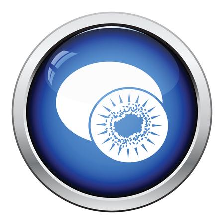 actinidia deliciosa: Icon of Kiwi. Glossy button design. Vector illustration. Illustration