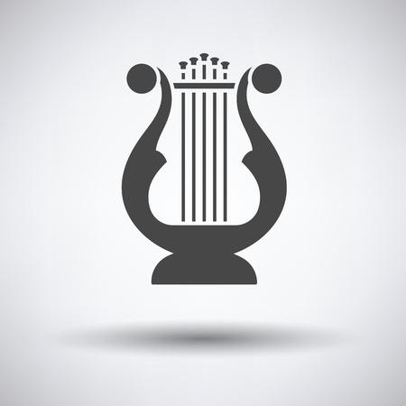 lyra: Lyre icon on gray background, round shadow. Vector illustration.