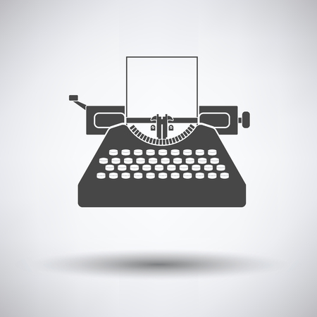classic authors: Typewriter icon on gray background, round shadow. Vector illustration.