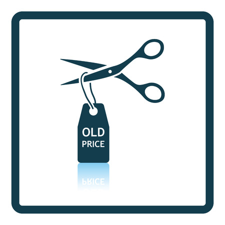 thrift: Scissors cut old price tag icon. Shadow reflection design. Vector illustration. Illustration