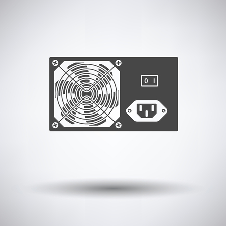 psu: Power unit icon on gray background, round shadow. Vector illustration. Illustration
