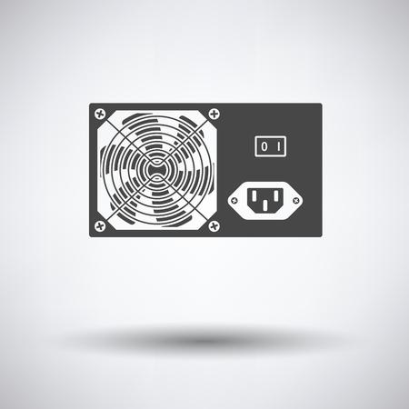 psu: Power unit icon on gray background, round shadow. Vector illustration. Illustration