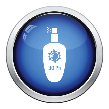 sun protection: Sun protection spray icon. Glossy button design. Vector illustration. Illustration