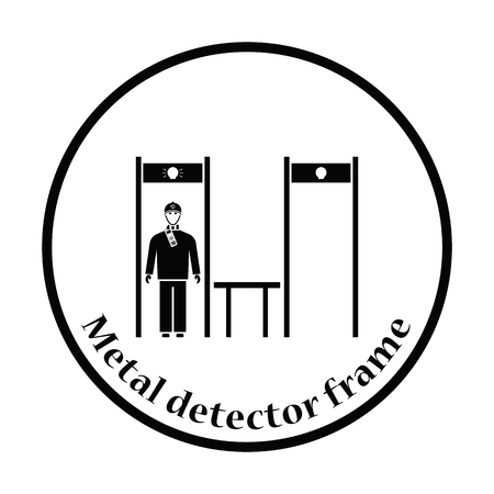 inspecting: Stadium metal detector frame with inspecting fan icon. Thin circle design. Vector illustration. Illustration