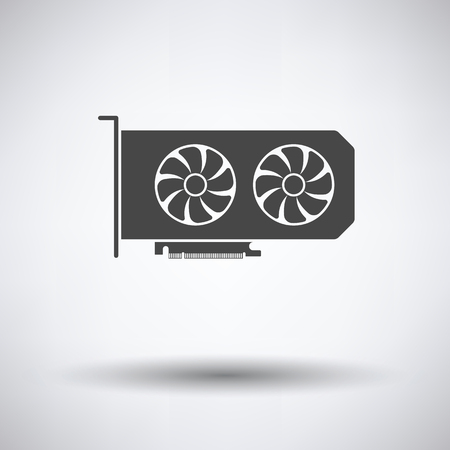 GPU icône sur fond gris, ombre ronde. Vector illustration.