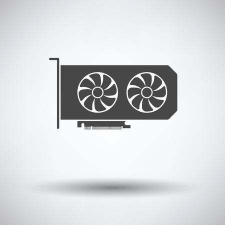 GPU icon on gray background, round shadow. Vector illustration.