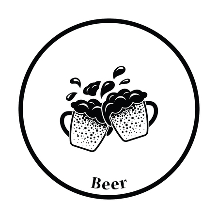 clinking: Two clinking beer mugs with fly off foam icon. Thin circle design. Vector illustration. Illustration