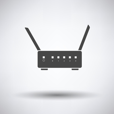 wan: WiFi router icon on gray background, round shadow. Vector illustration.