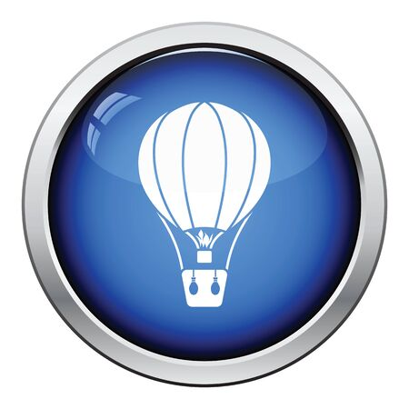 ballooning: Hot air balloon icon. Glossy button design. Vector illustration.