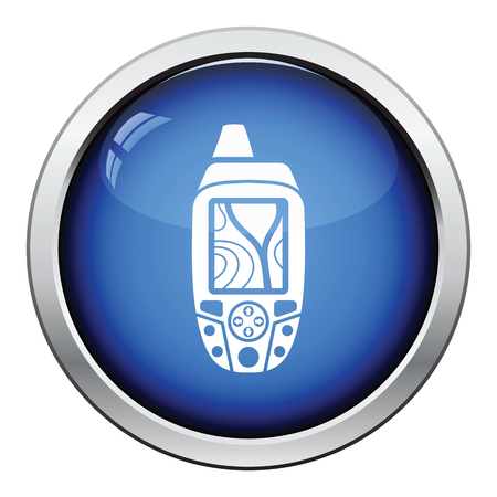 handheld device: Portable GPS device icon. Glossy button design. Vector illustration. Illustration