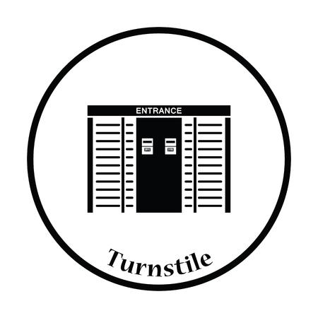 single entry: Stadium entrance turnstile icon. Thin circle design. Vector illustration.