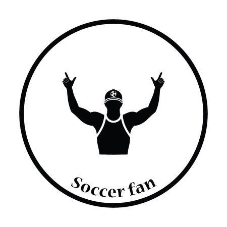 football fan: Football fan with hands up icon. Thin circle design. Vector illustration.
