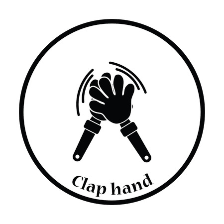 applaud: Football fans clap hand toy icon. Thin circle design. Vector illustration.