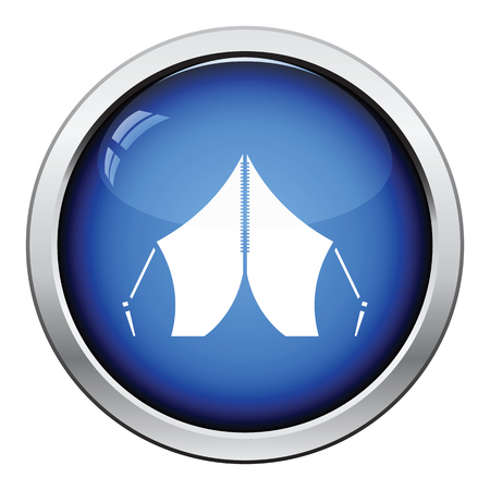 refuge: Touristic tent icon. Glossy button design. Vector illustration.