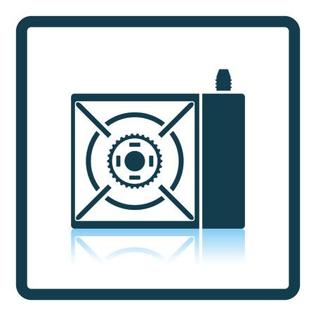 travel burner: Camping gas burner stove icon. Shadow reflection design. Vector illustration. Illustration