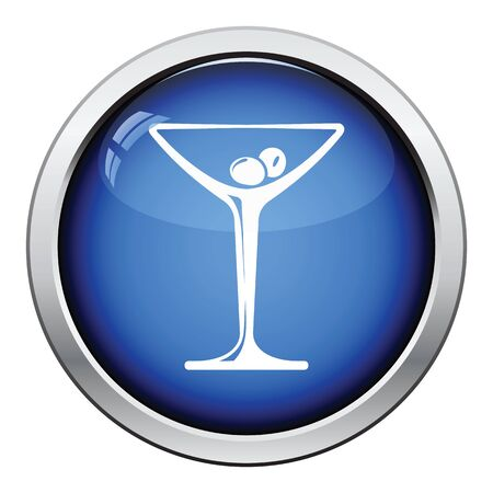 glass button: Cocktail glass icon. Glossy button design. Vector illustration.