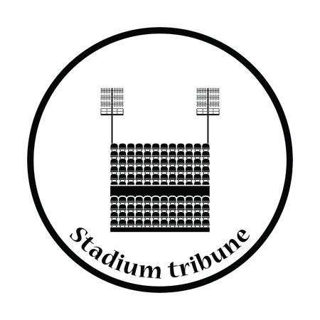 outdoor seating: Stadium tribune with seats and light mast icon. Thin circle design. Vector illustration. Illustration