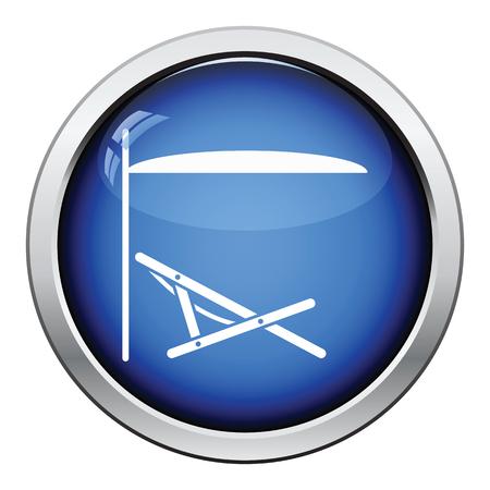 recliner: Sea beach recliner with umbrella icon. Glossy button design. Vector illustration. Illustration