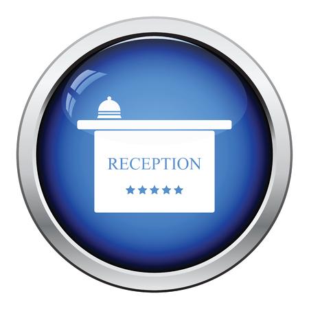 hotel reception: Hotel reception desk icon. Glossy button design. Vector illustration.