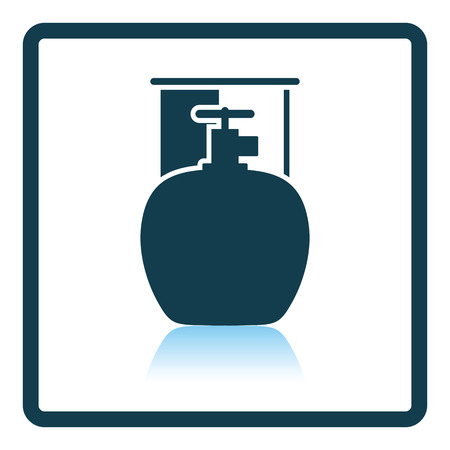 butane: Camping gas container icon. Shadow reflection design. Vector illustration. Illustration