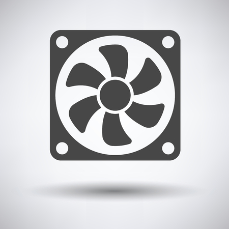 colour fan: Fan icon on gray background, round shadow. Vector illustration.