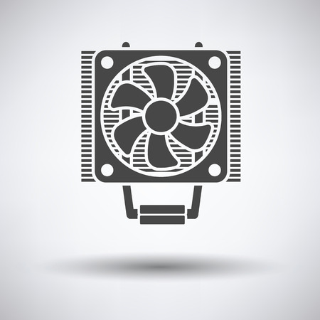 heat sink: CPU Fan icon on gray background, round shadow. Vector illustration.