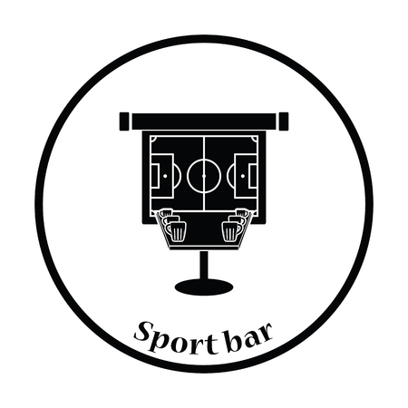 bar table: Sport bar table with mugs of beer and football translation on projection screen icon. Thin circle design. Vector illustration. Illustration