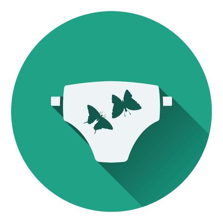 frill: Diaper icon. Flat color design. Vector illustration.