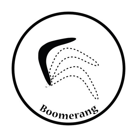 wooden boomerang: Boomerang  icon. Thin circle design. Vector illustration. Illustration