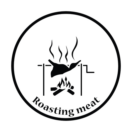 embers: Roasting meat on fire icon. Thin circle design. Vector illustration. Illustration