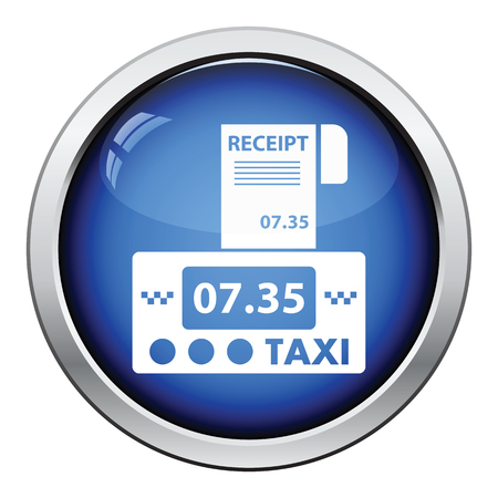 receipt: Taxi meter with receipt icon. Glossy button design. Vector illustration. Illustration