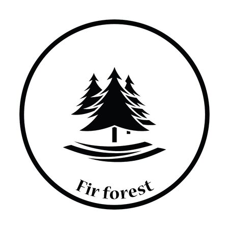 pine trees: Fir forest  icon. Thin circle design. Vector illustration.
